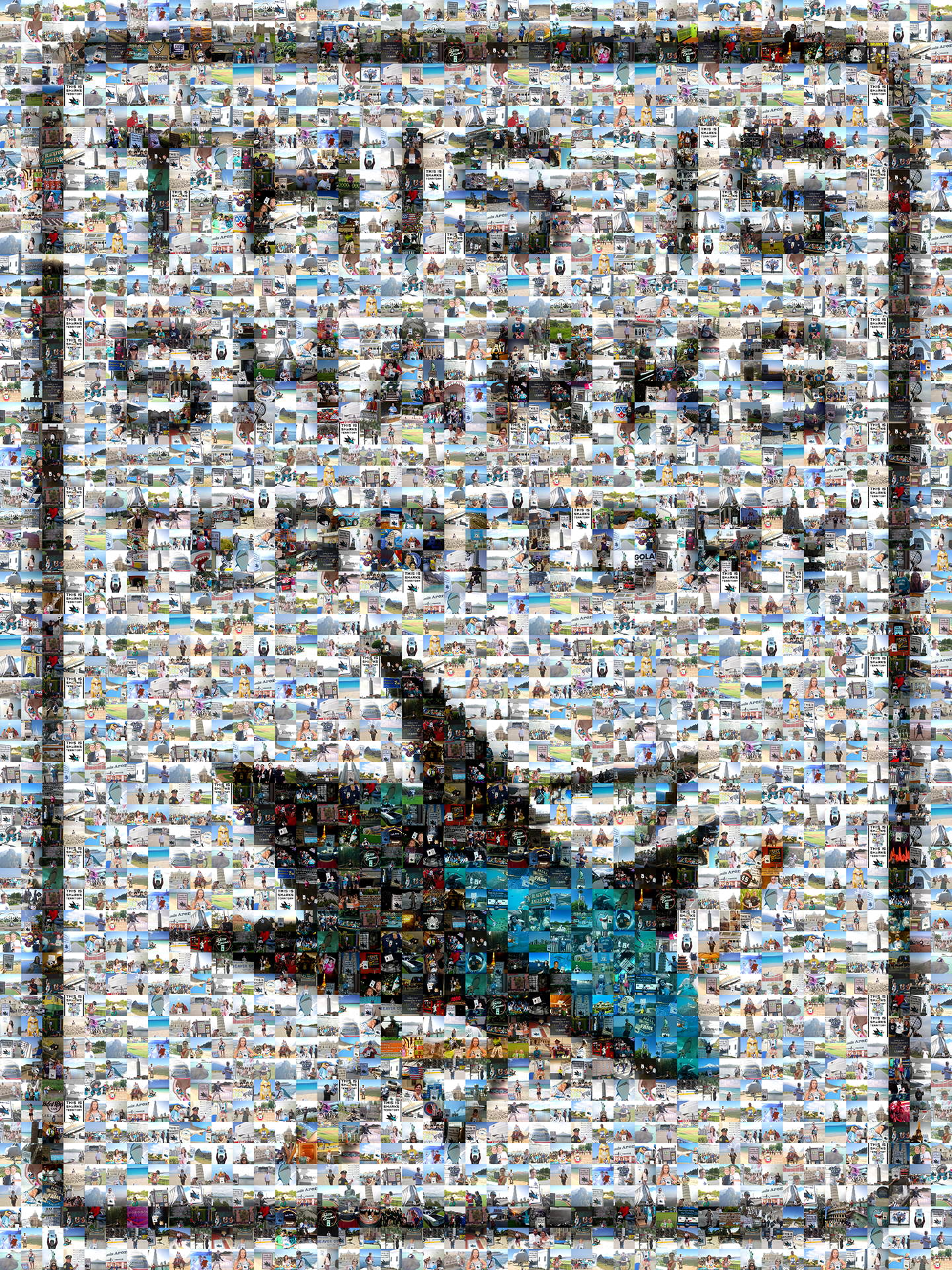 photo mosaic over 650 fan submitted photos make up this San Jose Sharks mosaic