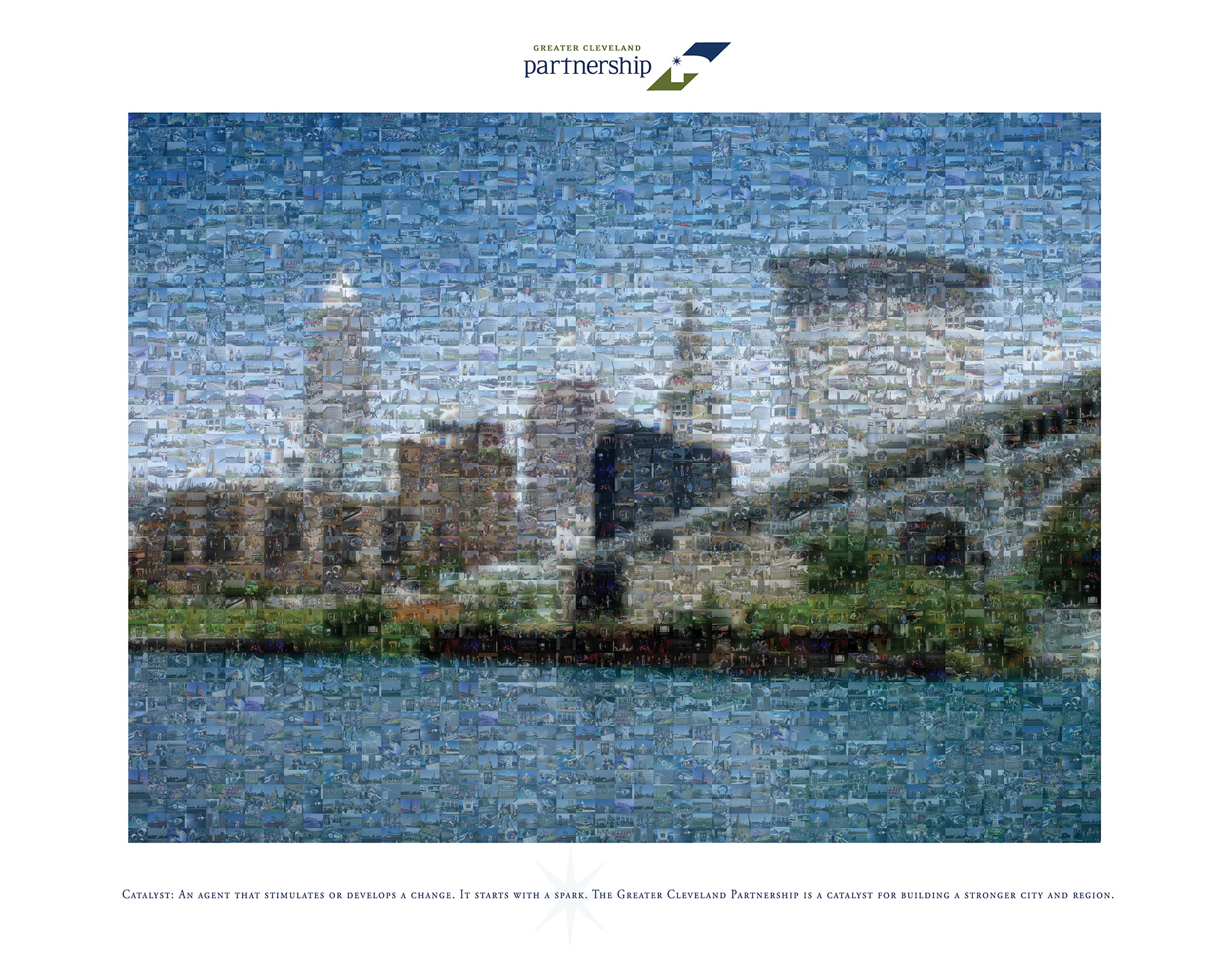 photo mosaic Greater Cleveland Partnership Corporate mosaic poster created using 430 photos of Cleveland