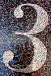 created using 392 photos of the number three