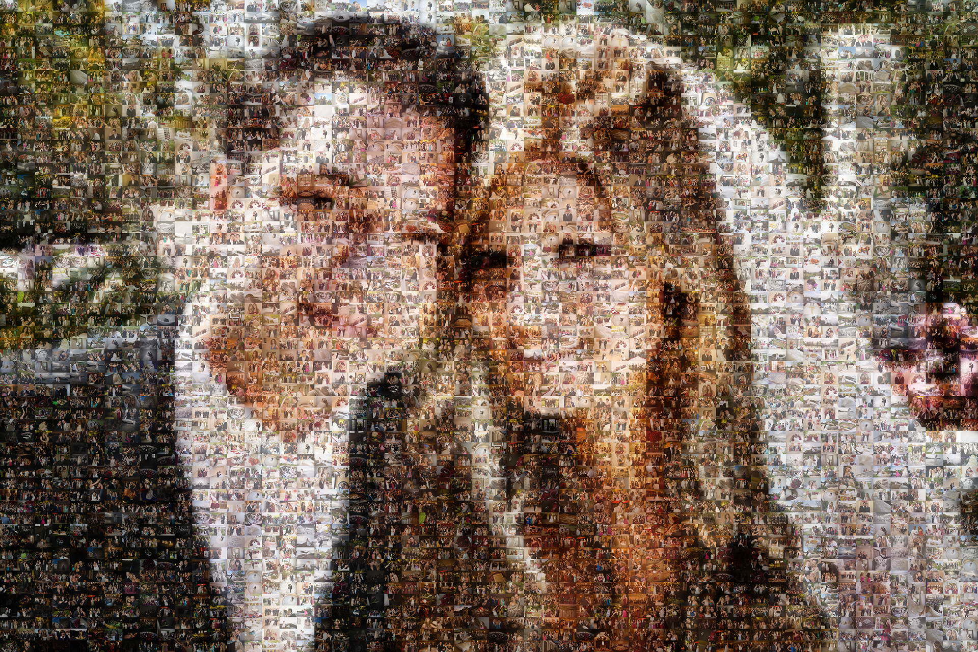 photo mosaic created using 1200 photographer selected photos from their wedding celebration