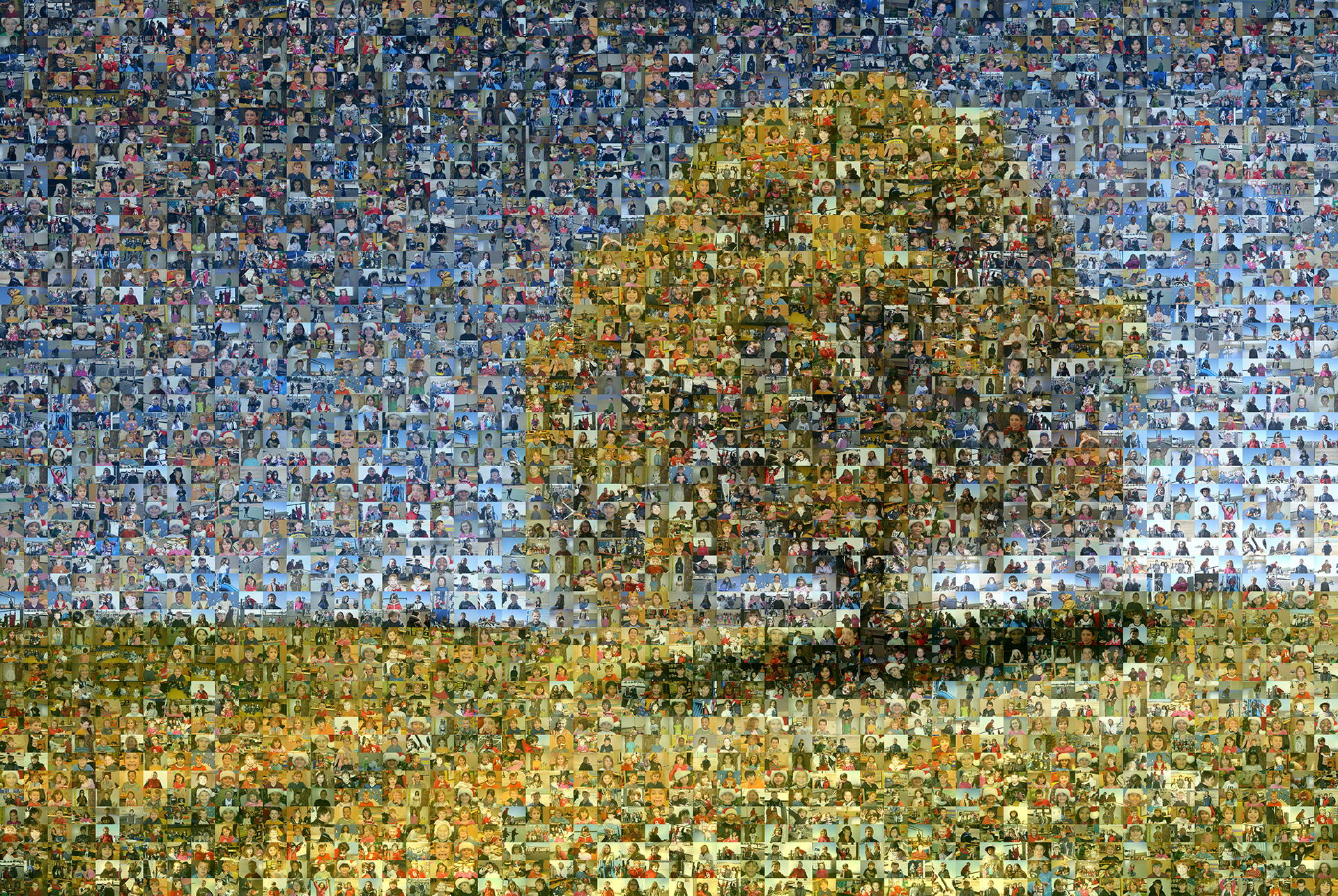 photo mosaic created using 675 customer selected photos