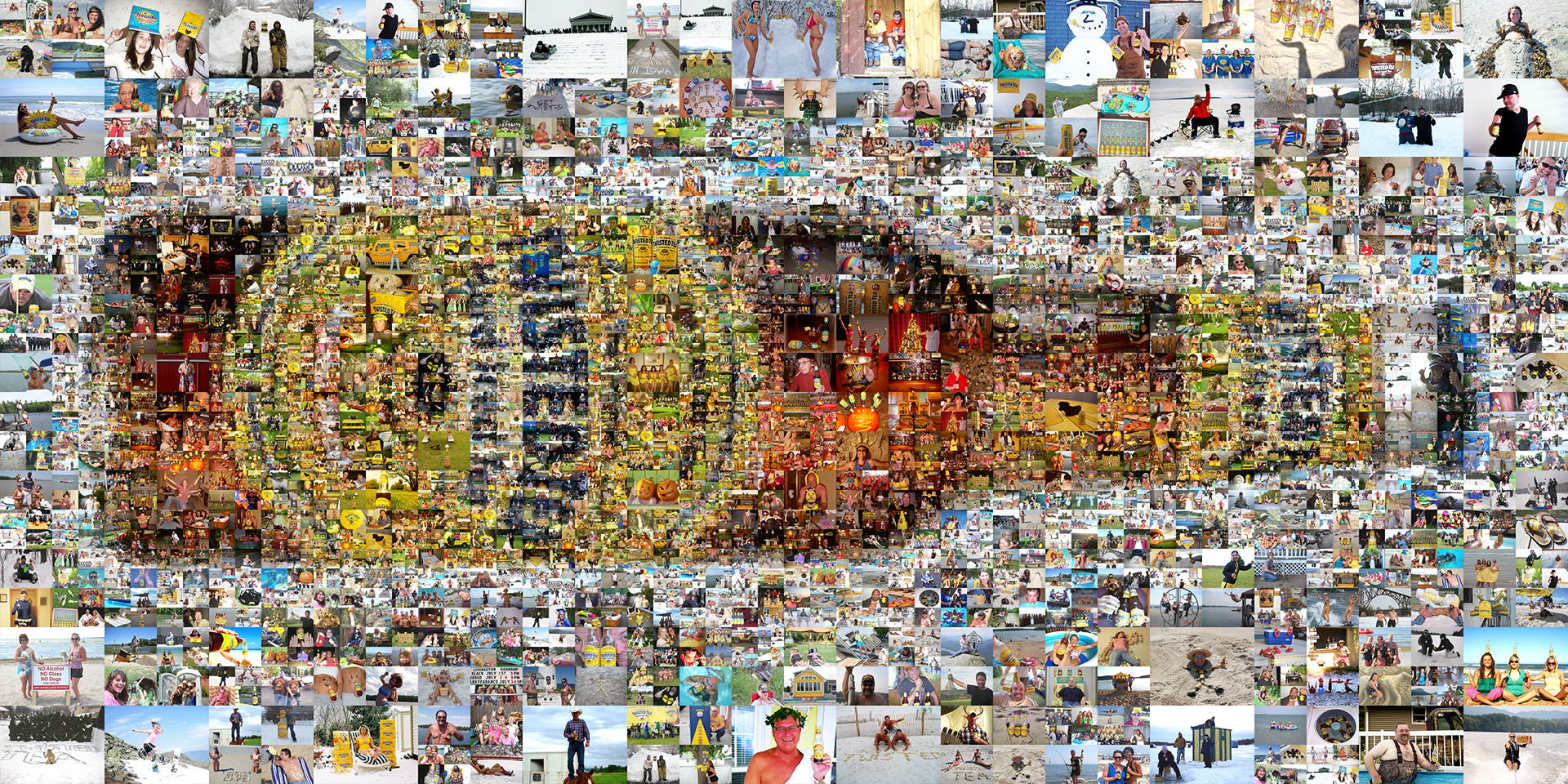 photo mosaic A multi-size cell mosaic mural designed using 1,000 Twisted Tea fan photos
