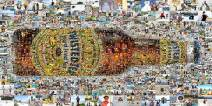 A multi-size cell mosaic mural designed using 1,000 Twisted Tea fan photos