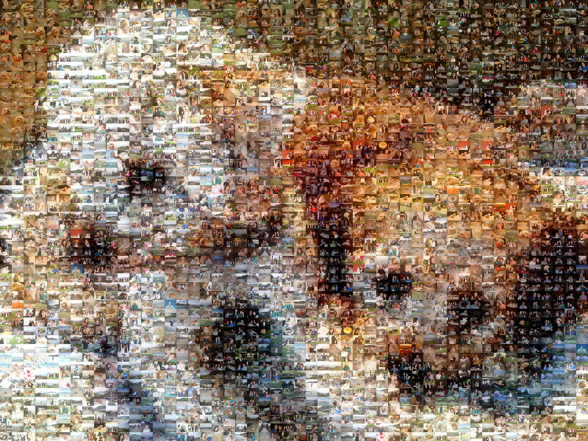 photo mosaic created using almost 1,300 customer selected photos