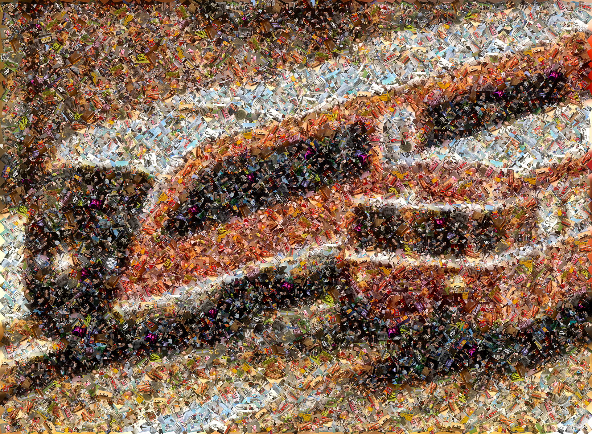 photo mosaic This scatter mosaic of an antique train toy set was created using 136 photos