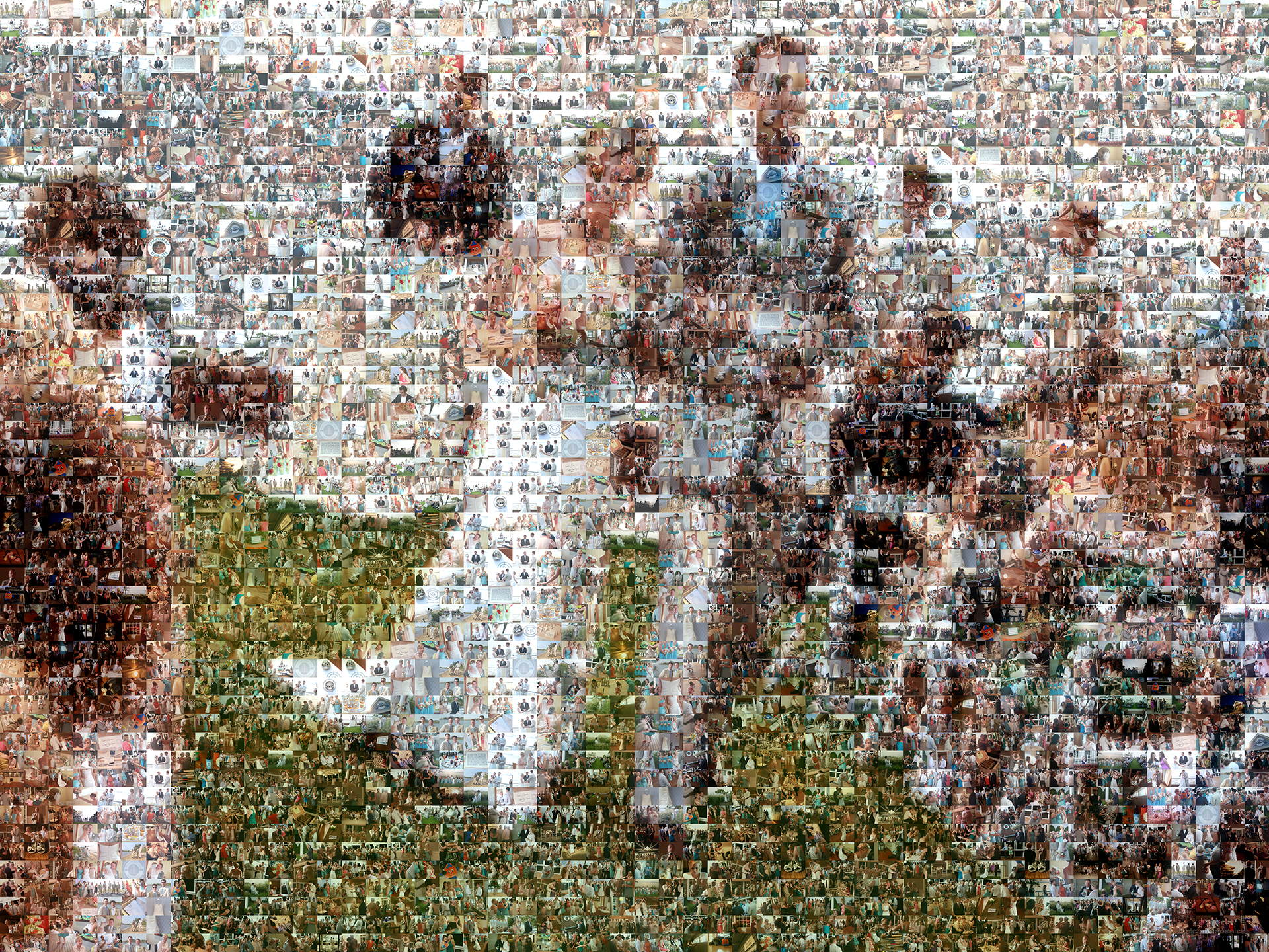 photo mosaic a happy couple just married used 613 wedding photos