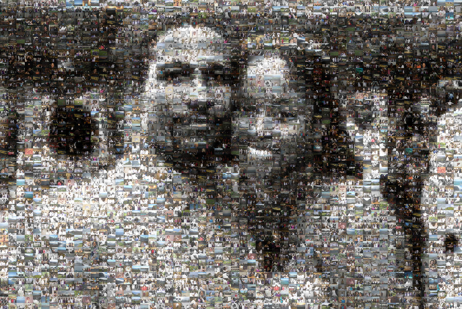photo mosaic created using 1,177 wedding photos