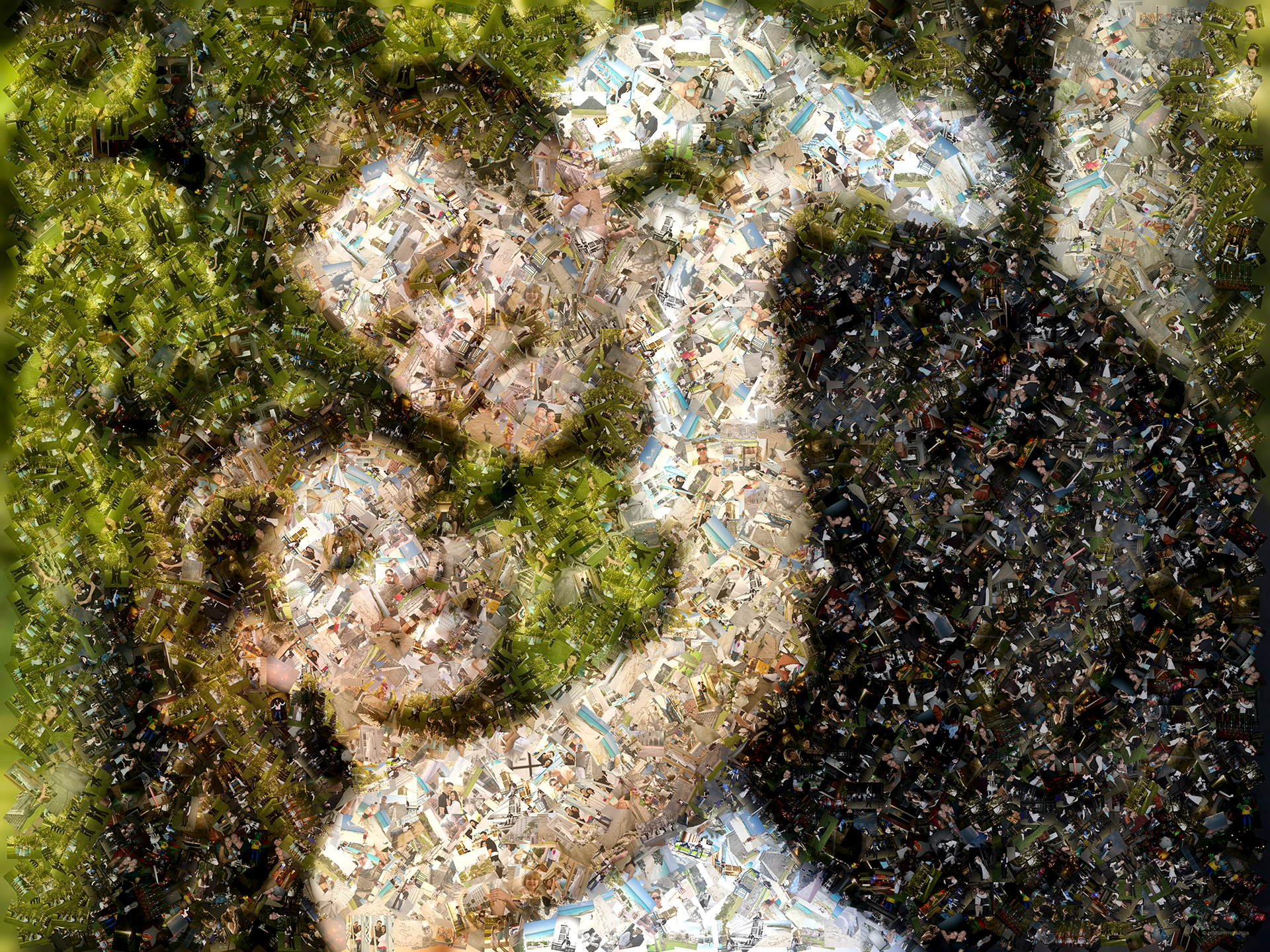 photo mosaic created using over 1,000 newly wed photos
