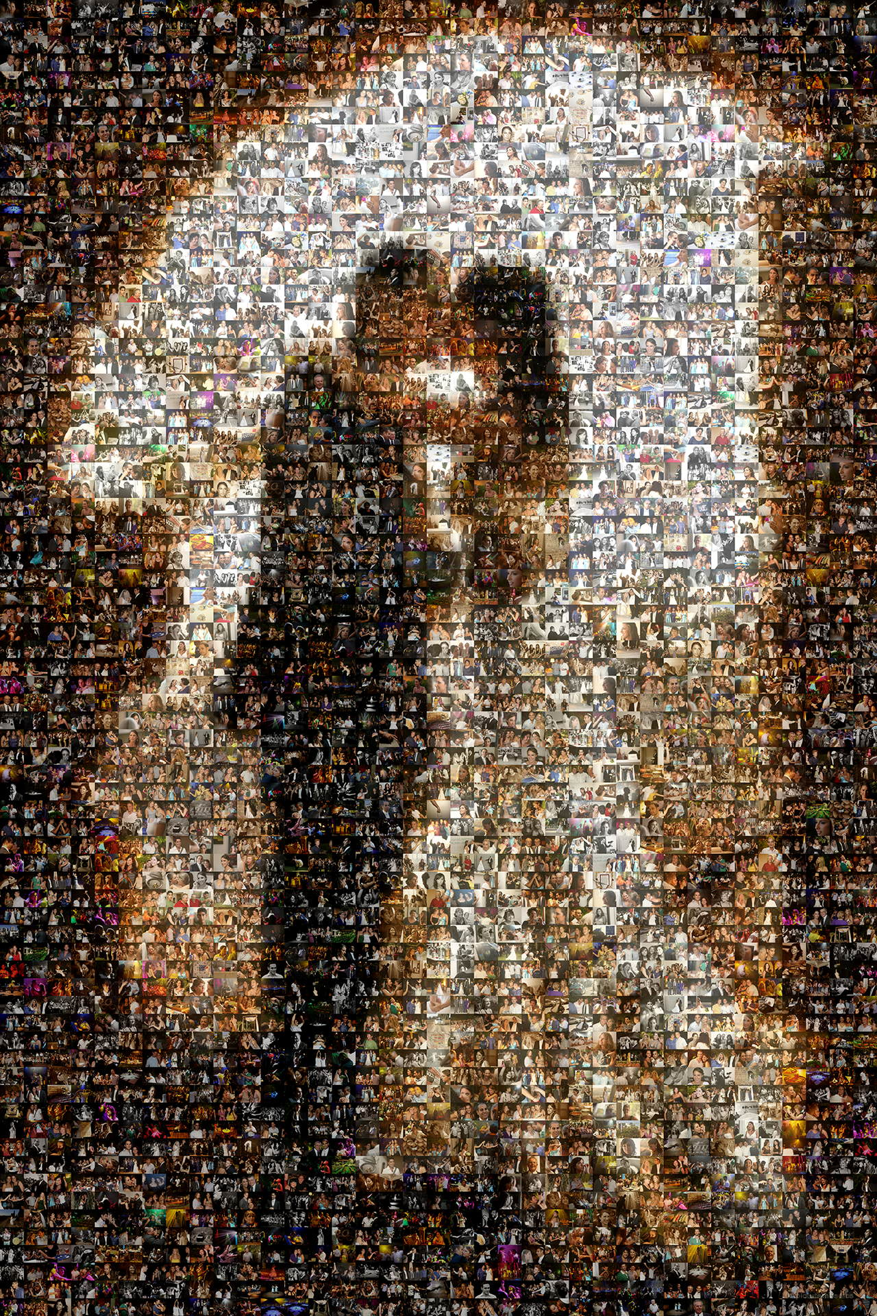 photo mosaic created using 1,134 wedding photos