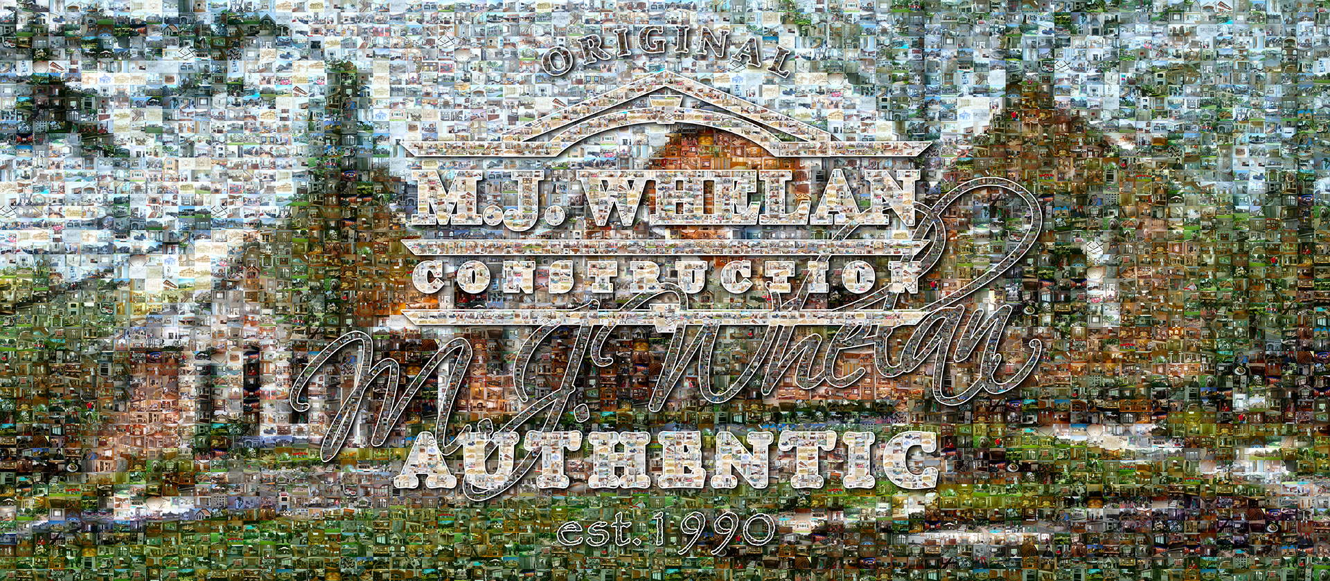 photo mosaic 1155 construction images make up this company mural for M. J. Whelan Construction