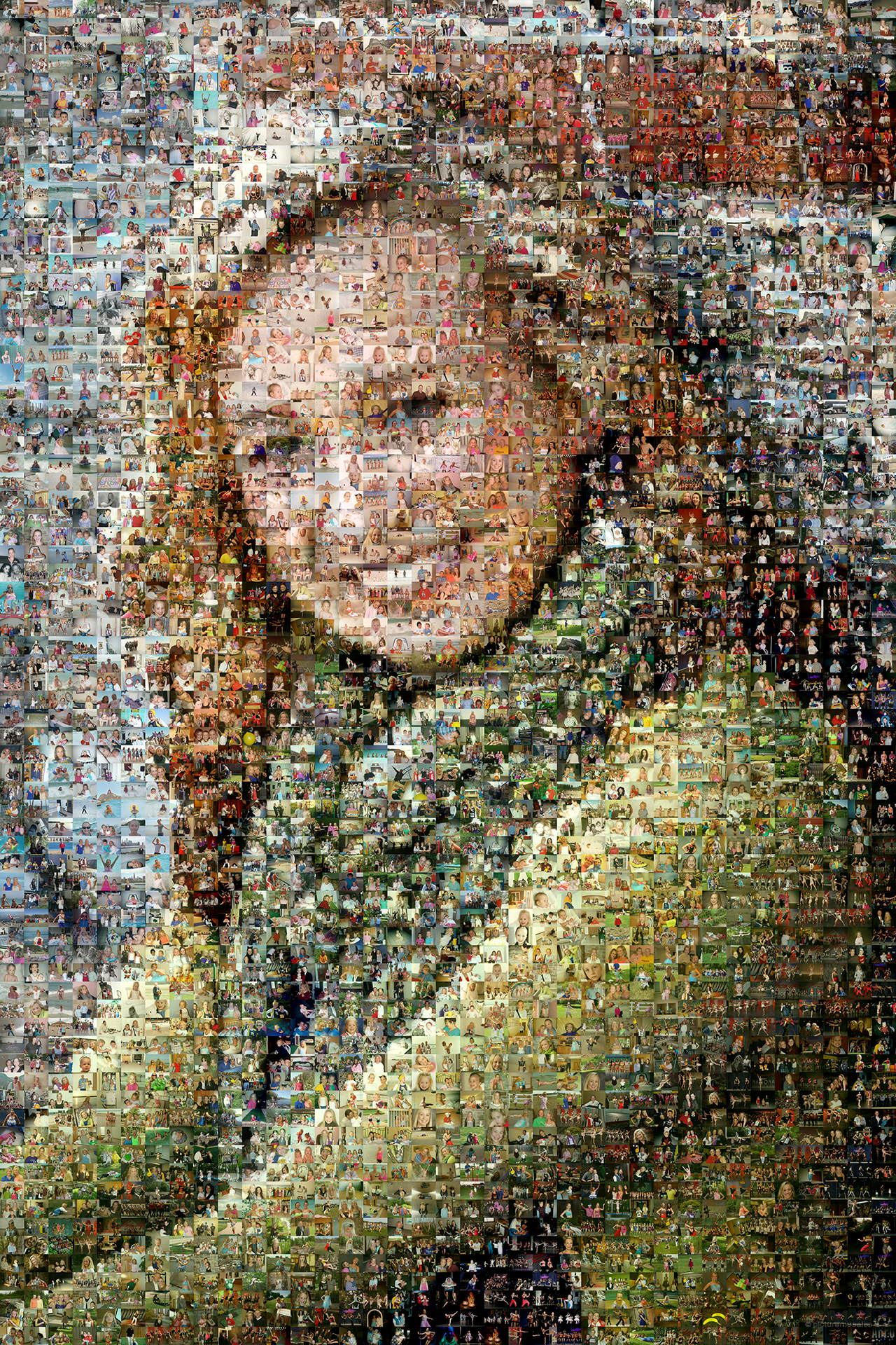photo mosaic created using over 3600 photos of family and friends